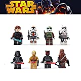 8pcs/lot Minifigures STAR WARS Darth Vader, C-3po, Chewbacca, Darth Maul, Anakin Skywalker, Bounty Hunter, Republic and Sand Troopers Minifigure Series Building Blocks Sets Toy Compatible With Lego (No box, no card)