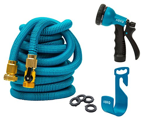 AORO Expandable Garden Hose, 50ft Flexible Expanding Hose with Natural Triple Layer Latex Core,Solid Brass Connector (with Valve), Storage Sack, Hose Holder and 8 Pattern Spray Nozzle,Blue ()