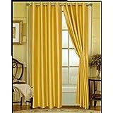 "1kidandaheadache's Faux Silk Panel Drape Curtain Window Treatmeant 8 Grommets 55""x108"" in Yellow"