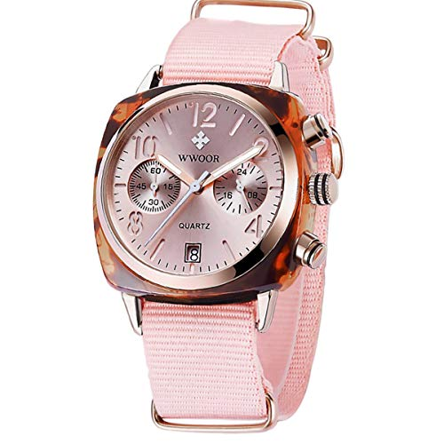 - WWOOR Women's Nylon Sport Multifunction Watch Fashion Analog Quartz Watches with Date Waterproof Wristwatch Casual Watch Ladies (Pink)