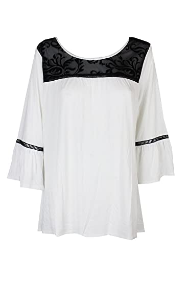 7ed47b0db56 NY Collection Plus Size Lace-Yoke Bell-Sleeve Top (White Paramour ...