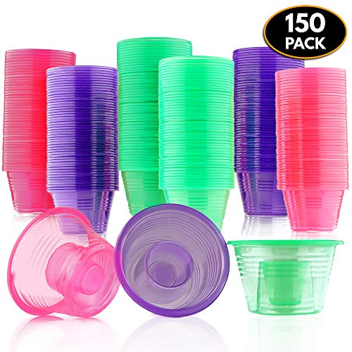 150 Disposable Jager Bomb Shot Glasses - Hard Plastic Bomb Shot Cups in 3 Neon Colours - Heavy Duty, Highly Durable and Reusable Shot Glasses - Perfect for Shots, Red Bull & Jagermeister.]()