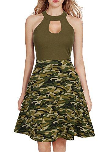 Mmondschein Women's Vintage Halter Camouflage Floral Causal Party Swing Dress Army XL