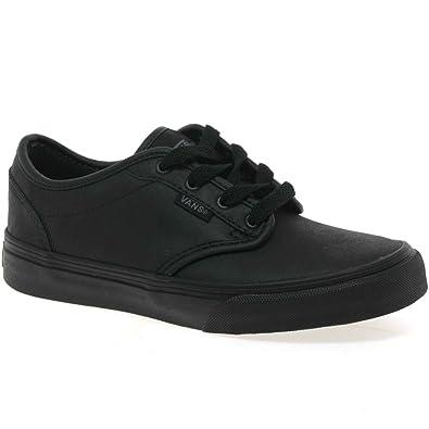 38e4d64d3cea Vans Kids Atwood Y Black Leather School Shoes Trainers  Amazon.co.uk  Shoes    Bags