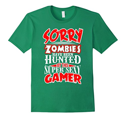 Sexy Gamer Costumes (Mens This Gamer used to Hunt Zombies Sexy Gamer T Shirt Medium Kelly Green)