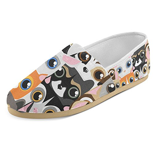 InterestPrint Women's Loafers Classic Casual Canvas Slip On Fashion Shoes Sneakers Mary Jane Flat Little Cute and Funny Pets colorful Cats