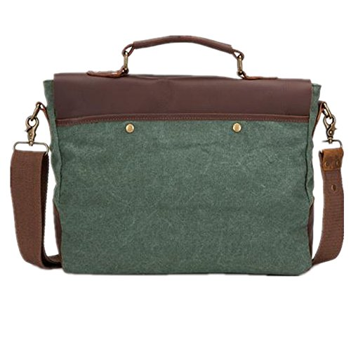 5 ALL Aktentasche Damen Herren Canvas Leder Umhängetasche Laptoptasche Messenger Bag (Grün) Grün