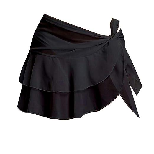 1163959e03ef5 Patiky Women Beach Sarong Cover Up Skirt Chiffon Ruffle Swimsuit Wrap WFZ06  (Black)