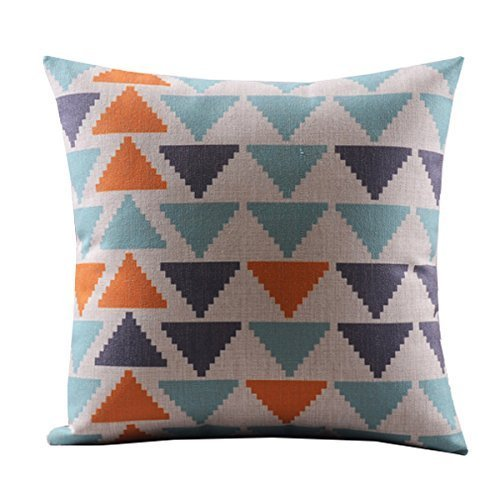 20 X 20 Inches Cotton Linen Decorative Pillowcase Throw Pillow Cushion Cover Square Retro Bold Triangles For Valentine's Day Mother's Day Gifts