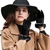 GSG Womens Luxury Genuine Rex Rabbit Fur Italian Genuine Nappa Leather Driving Gloves Touchscreen Fashion Lady Winter Black