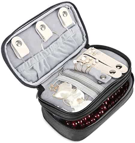 035bb3017 ProCase Jewelry Case Travel Organizer Bag, Soft Padded Double Layer Jewelry  Carrying Pouch Portable Jewelry
