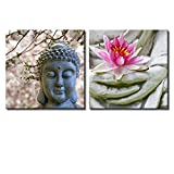 wall26 Two Piece Canvas - Buddha Statue with Cherry Blossoms and a Lotus on 2 Panels - Canvas Art Home Decor - 16x16 inches