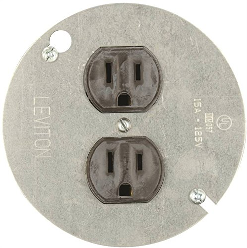 Leviton 1228 15 Amp 125 Volt, Duplex Receptacle, with 4'' Metal Cover, Residential Grade, Grounding, Brown (3)