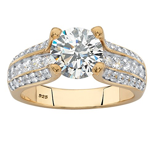 14k Gold over .925 Silver Round White Cubic Zirconia Triple-Row Engagement Ring Size 6