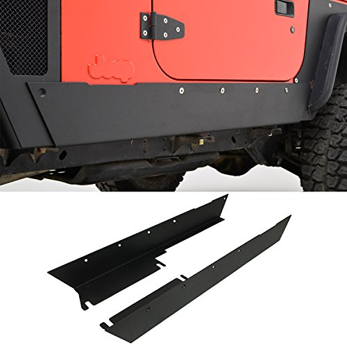 Body Side Guards (E-Autogrilles 97-06 Jeep Wrangler TJ Steel Black Textured Side Panel Armor Body Cladding Rocker Guards)