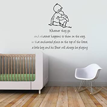 Winnie The Pooh And Christopher Robin Wherever You Go Quote Childrenu0027s  Bedroom Kids Room Playroom Baby Part 65