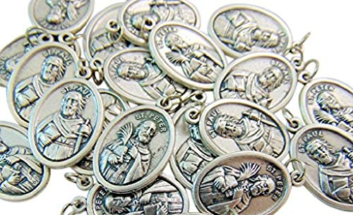 Westman Works Bulk Medal Lot Set of 20 St Peter Metal Saint Pendant from Italy with Bag