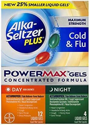 Alka-Seltzer Plus Maximum Strength Powermax Liquid Gels, Sinus & Cold Day & Night, 16 Count