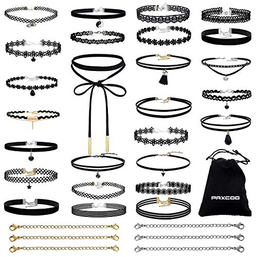PAXCOO 32 PCS Choker Necklaces Set Including 26 Pcs Black Choker Necklaces and 6 Pcs Extender Chains for Women -