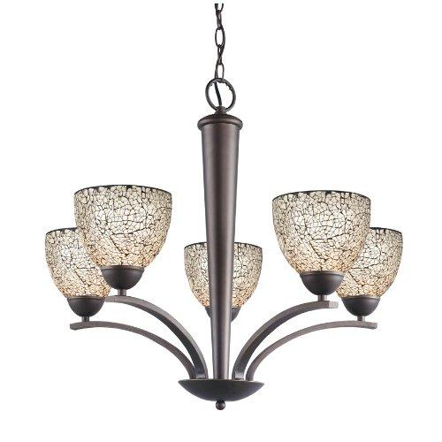 - Woodbridge Lighting 13015MEB-M21WHT North Bay 5-Light Chandelier, 26-1/-2-Inch by 23-1/2-Inch, Metallic Bronze