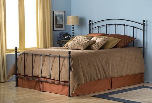 Fashion Bed Group Sanford 6/6 Bed Matte Black Complete Metal Panels and Round Finial Posts, King, Matte Black Finish