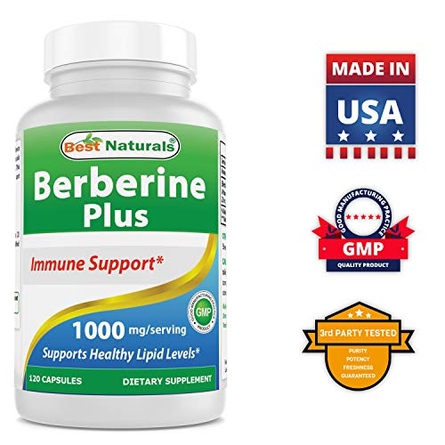 Best Naturals Berberine Plus 1000mg/Serving Promotes Healthy Blood Sugar Level (Non-GMO) 120 - Test 90 Alpha Caps