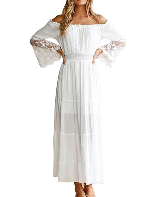 Vestidos De Encaje para Fiesta Mujer Casuales Vestidos Fuera De Hombro Vestidos Fiesta Largos Blanco S