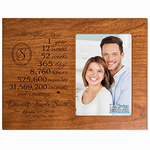 Personalized one year anniversary gift for her him couple Custom Engraved wedding gift for husband wife girlfriend boyfriend photo frame holds 4x6 photo by DaySpring International (Cherry)