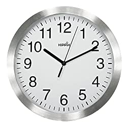 HIPPIH 10 Inch Silent Wall Clock - Non-Ticking Universal Indoor Decorative Metal Clocks for Office/Kitchen/Bedroom/Living Room