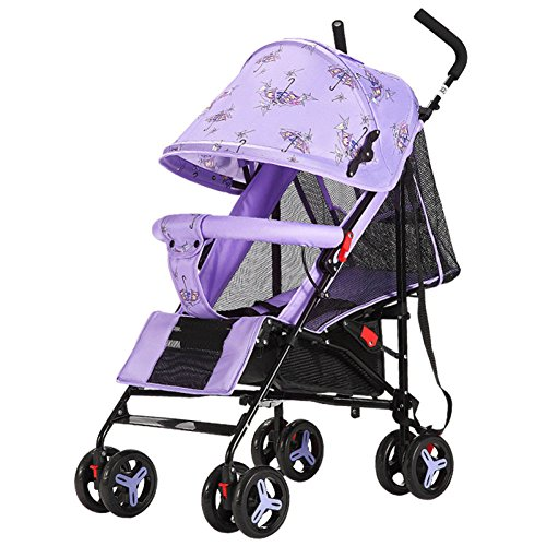 QXMEI Baby Stroller Ultra Light Portable Folding Can Sit Reclining Child Baby Kiddie Cart BB Umbrella Car,Purple from QXMEI