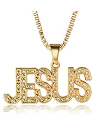 """Halukakah """"IN GOLD WE TRUST"""" Men's 18k Real Gold Plated JESUS/SUCCESS/LUCKY Letter Pendant Necklace with FREE Rope Chain 30"""""""
