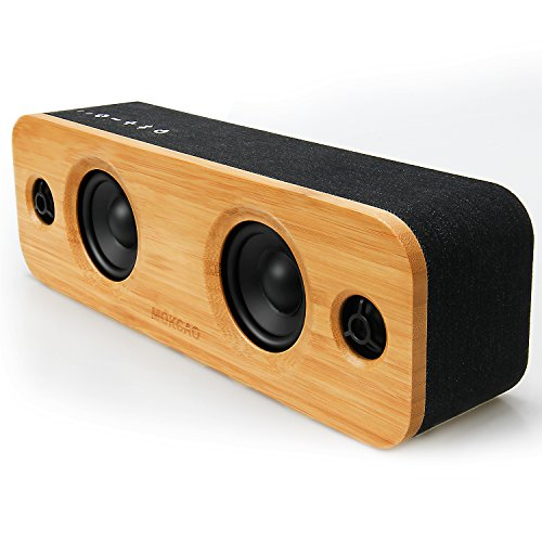 MOKCAO LIFE 30W Bluetooth Speakers, Loud Bamboo Wood Home Audio Wireless Speaker with Super Bass, 3EQ Modes for Home, Outdoors Party & Subwoofer