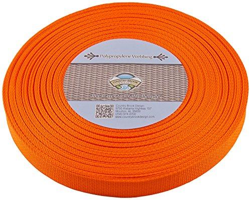 Country Brook 1-Inch Polypropylene Webbing, 100-Yard, Orange
