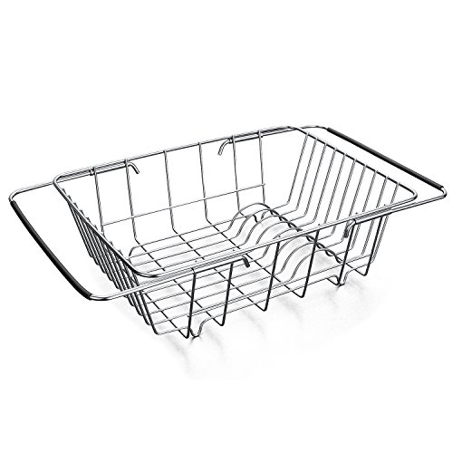 Stainless Steel Over-The-Sink Kitchen Dish Drainer Rack with Expandable Rubber Grip Handles, On Counter or In Sink Dish Rack, Rustproof for Drying Vegetables\Bowls\Dishes and Fruit
