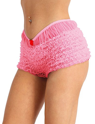 dPois Womens Sexy Ruffled Lace Panties Bloomers Sissy Knickers Shorts Pink One Size(Waist: 56-72cm / 22.0-28.0'')