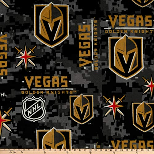 NHL Fleece Las Vegas Golden Knights Digital Camo Black, Fabric by the Yard