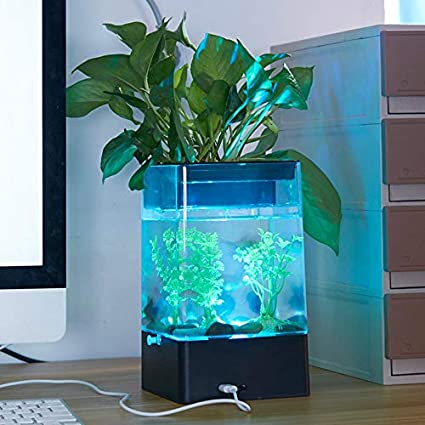 FinGo Mini pecera de Escritorio USB con Acuario de luz LED