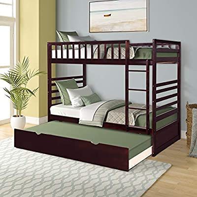 Merax Twin Over Twin Bunk Bed with Trundle Solid Wood Bunk Beds for Kids