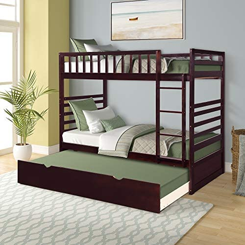 Merax Twin Over Twin Bed Bunk Bed with Safety Rail, Ladder, Trundle Solid Wood Bunk Beds for Kids, Teens Bedroom Bunk Bed Espresso