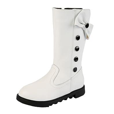 b3bb7b3bdd4d3 Ahatech Filles Bottes Hiver Boots en Cuir PU Chaussures Enfant Fille -  Blanc