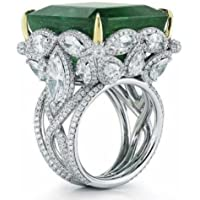 Nubngen Vintage Women Man 925 Silver Ring Huge 7.5ct Emerald Wedding Engagement Sz6-10 (10)