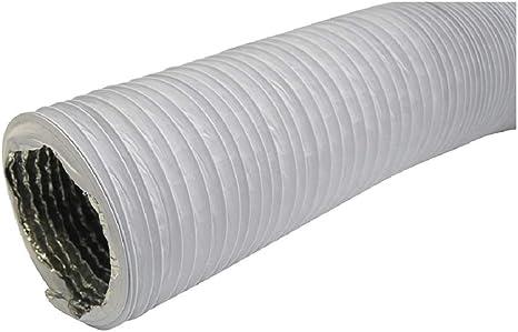 Tubo de salida de aire (diámetro 127 mm, longitud 1 m, con aislamiento de aluminio, para secadora, aire acondicionado, campana extractora, tubo flexible combinado de aluminio/PVC): Amazon.es: Grandes electrodomésticos