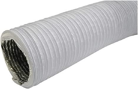 Tubo de salida de aire (125 mm de diámetro, 3 m, con aislamiento de aluminio, para secadora, aire acondicionado, campana extractora, tubo flexible combinado de aluminio y PVC), color blanco: Amazon.es: Bricolaje