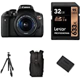 Canon EOS Rebel T6i Digital SLR with EF-S 18-55mm IS STM Lens, 32GB Memory Card, Extra Battery, Bag and Manfrotto Tripod