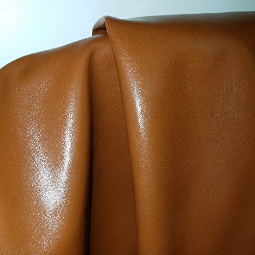 Tan Cognac Faux Leather Synthetic Pleather 0.9 mm Omega Calf Smooth Nappa 1 yard 54 inch wide x 36 inch long Soft smooth vinyl Upholstery (Mid Brown) (1 - Leather Fabric Woven