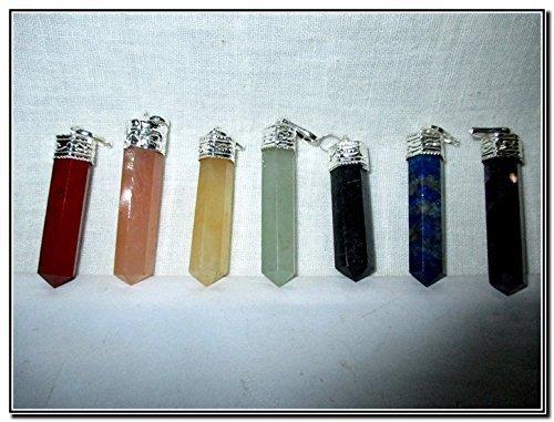 Chakra Pencil Point Pendant Gemstone Healing Set Reiki Chakra Balancing Good (Jet Crystal Necklace)