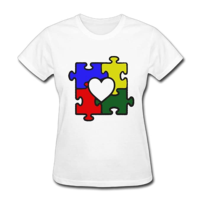 81215383 Autism Heart Puzzle Autism Awareness Women's Round Neck Short Sleeve Tshirt  Cool Clothes Tops for Women