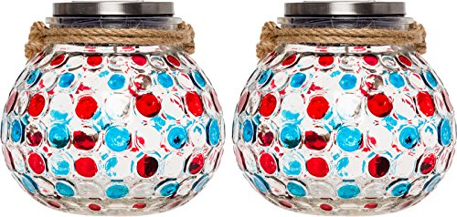 GreenLighting 2 Pack Dotted Solar Jar Light - Decorative LED Glass Table Lantern (Blue/Red) by GreenLighting