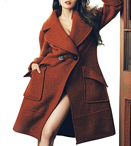 Hego Women's 2016 Single Breasted Cashmere Suit Long Wool Coat H3234 (S, Brown)