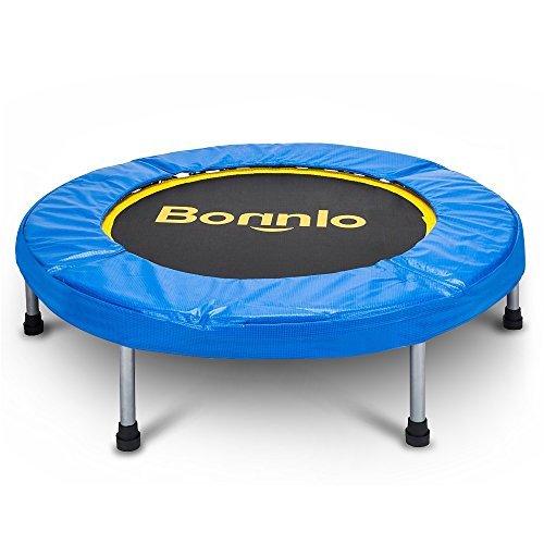 Bonnlo Upgraded 38/40 inch Rebounder Trampoline Fitness with Safety Pad Max Load 220 lbs, Folding Trampoline Trainer, Twice Foldable Portable Trampoline Cardio Workout Fitness (38 inch) For Sale
